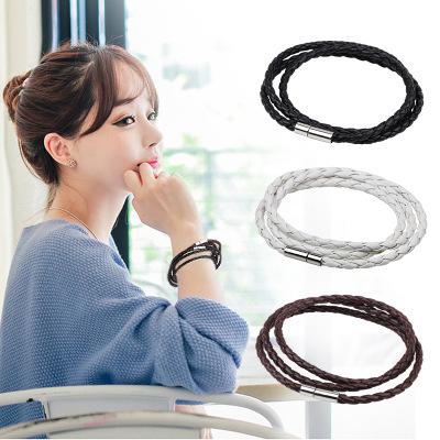 韓國爆款皮繩手鏈 多層編織麻花不銹鋼扣手環手鐲手繩【B3084】