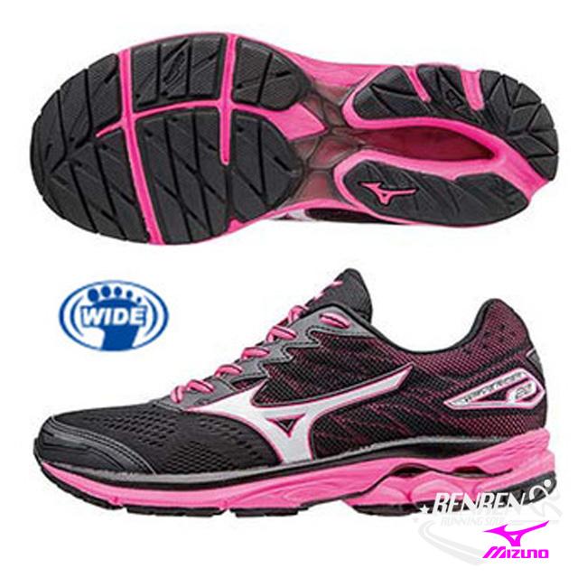 美津濃 MIZUNO 女慢跑鞋 WAVE RIDER 20 (黑/白/桃紅) 寬楦 雲波浪女慢跑鞋 J1GD170608【 胖媛的店 】