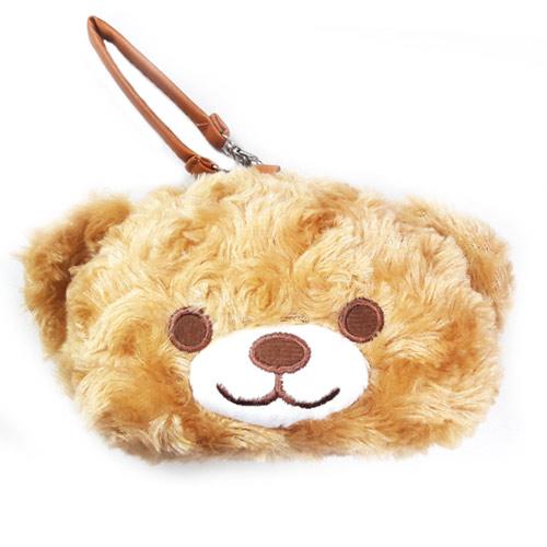 【日本進口正版】小熊 熊熊 絨毛 零錢包 吊飾 收納包 - 087053