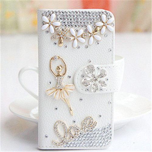 俏魔女美人館HTC ONE E8芭蕾女孩皮套水鑽保護殼翻蓋套貼鑽手機套保護殼保護套