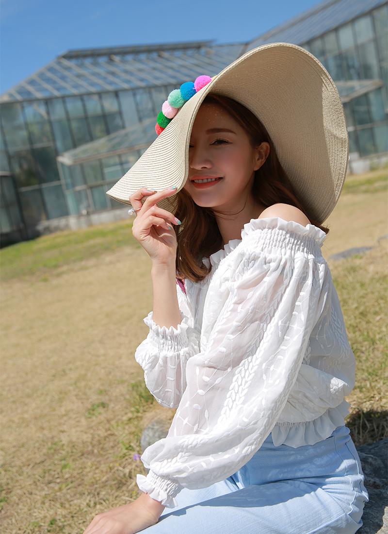 韓國度假彩球大簷草帽韓版海邊夏防曬遮陽帽子沙灘帽折疊潮女出遊