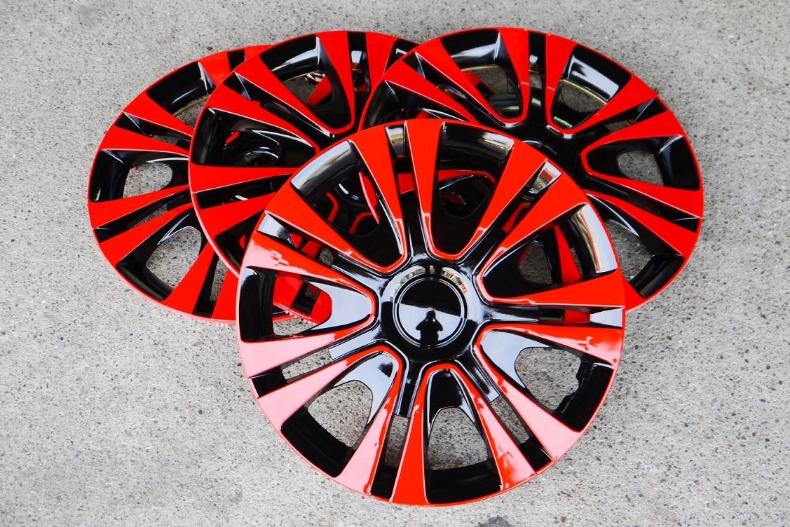黑紅款改裝亮面款仿鋁圈樣式通用型汽車13吋14吋專用輪圈蓋鐵圈蓋4片入無LOGO字樣