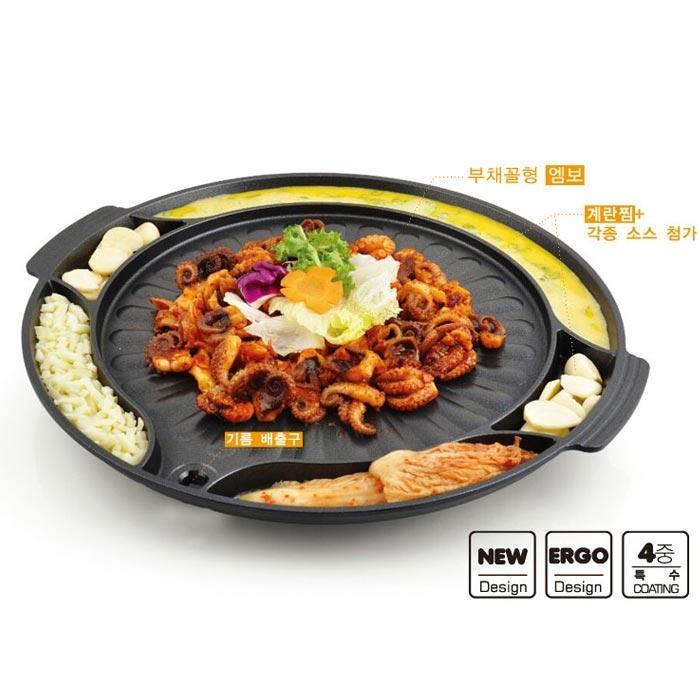韓國Kitchen Art 37cm不沾6格烤肉盤圓形烘蛋6格烤盤韓式烤盤不沾塗層鍋韓式烤肉盤不沾烤盤