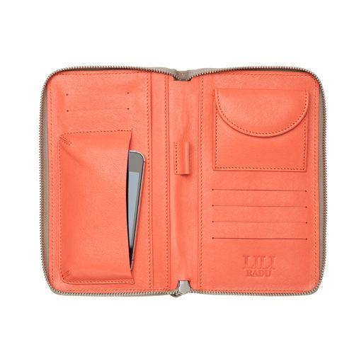 LILI RADU德國新銳時尚設計品牌手工雙色小牛皮時尚手拿多功能手機包錢包優雅褐