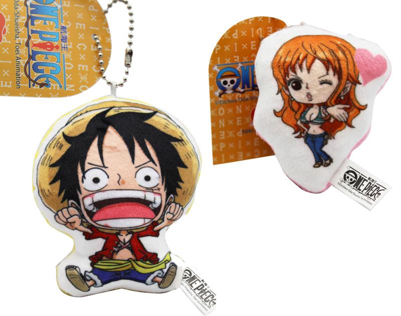 卡漫城航海王吊飾兩入一組版珠鍊絨毛裝飾品鑰匙圈掛飾海賊王One Piece魯夫娜美