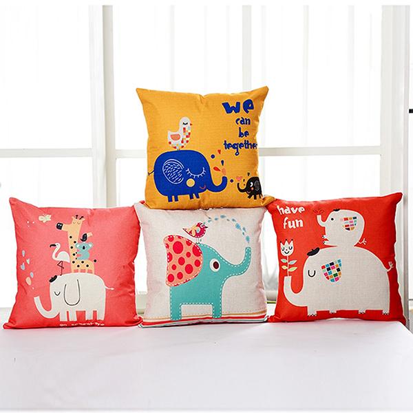 BELLE VIE 卡通風棉麻抱枕【45cm×45cm】大象派對 多款任選