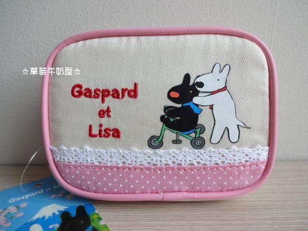 草莓牛奶屋日本進口Gaspard et Lisa黑白狗粉紅蕾絲收納包