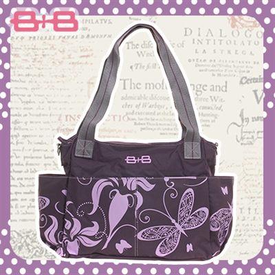 2用側背媽媽包-蝴蝶紫尿布墊保溫袋多功能肩揹側背媽咪包HAPPY B B E-B-95145A-PP