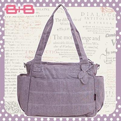 經典純靜媽媽包-紫尿布墊保溫袋多功能肩揹側背媽咪包HAPPY B B E-B-95145-P
