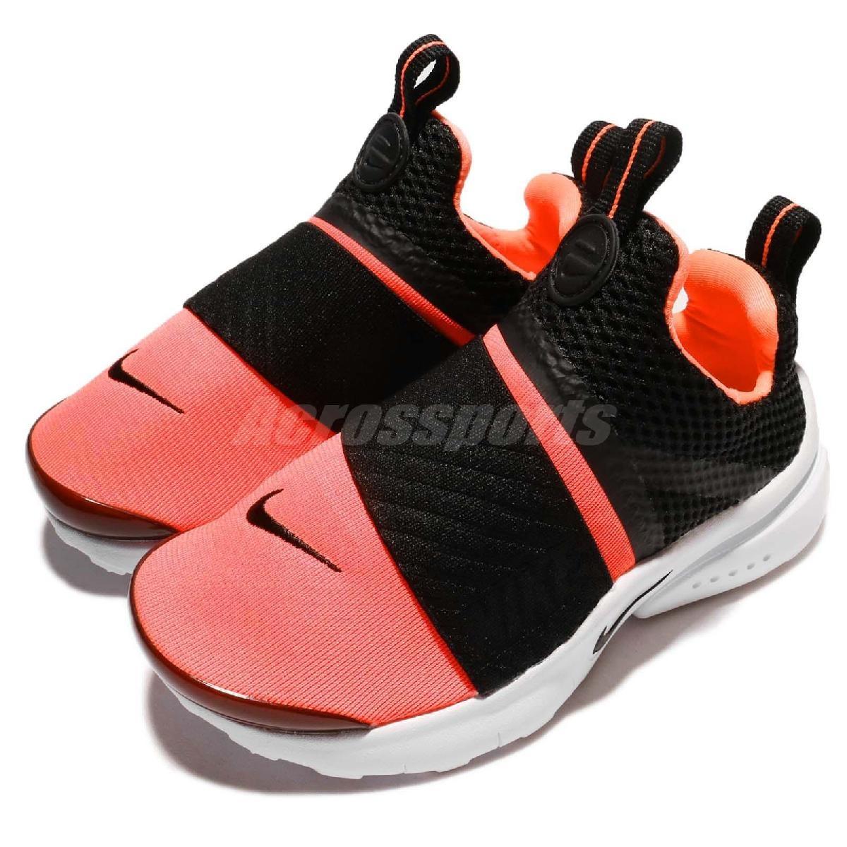 Nike休閒慢跑鞋Presto Extreme TD黑橘紅低筒無鞋帶襪套式嬰兒小童鞋Baby鞋PUMP306 870021-001