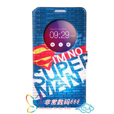 King*Shop~華碩zenfone 2 Laser 5寸彩繪支架手機套ZE500KL智能視窗皮套潮