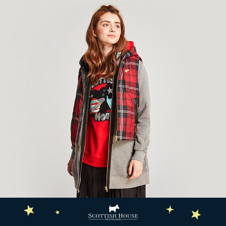 【紅黑格】 鋪棉背心內搭長版外套  Scottish House【AJ1803】