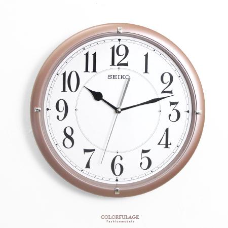 SEIKO精工掛鐘簡約香檳咖時尚大數字設計時鐘滑動式靜音秒針柒彩年代NG1717原廠公司貨