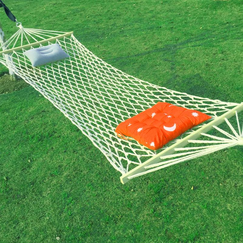 戶外吊床網狀單人室內成人兒童野營蕩秋千睡網掉床加固粗棉繩超輕免運