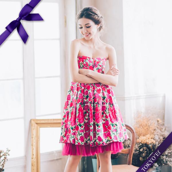東京衣服許瑋甯普羅旺斯玫瑰心型領洋裝小禮服紅花