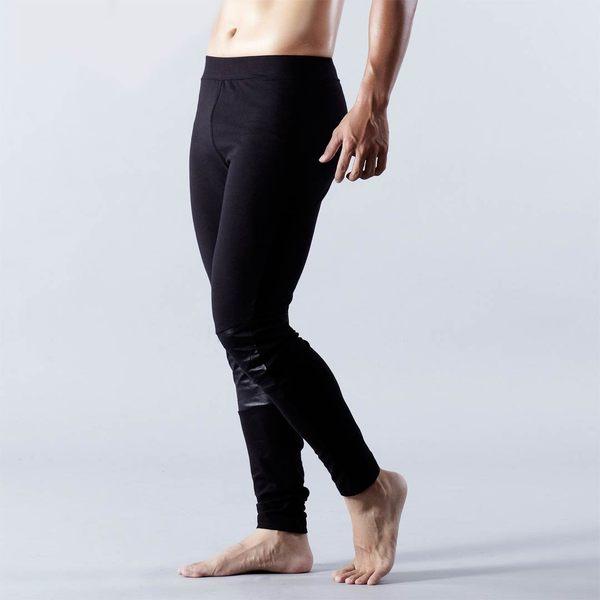ELLE HOMME男內搭褲皮紋萊卡剪接吸濕排汗時尚運動健身緊身褲中揚精品E84109