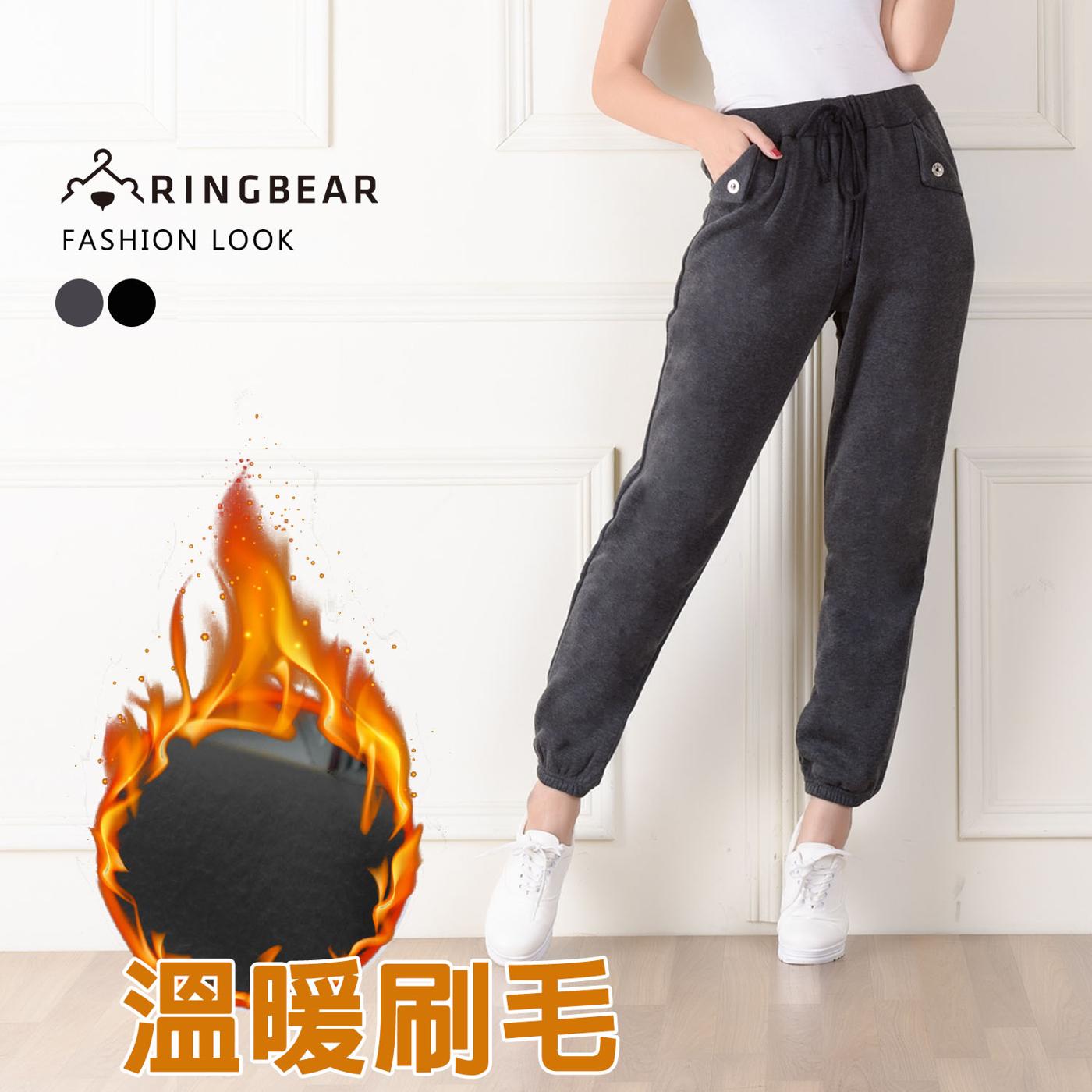 棉褲-保暖休閒款羅紋抽繩縮口反褶口袋造型休閒棉褲黑.灰M-XL-P77眼圈熊中大尺碼