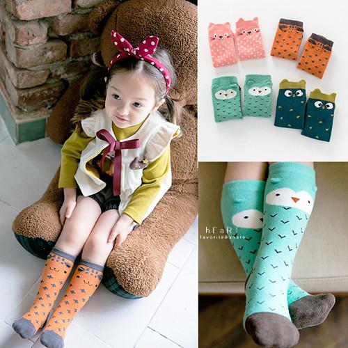 韓國立體可愛動物拼色止滑長襪 童襪 長襪 止滑襪 可愛動物襪