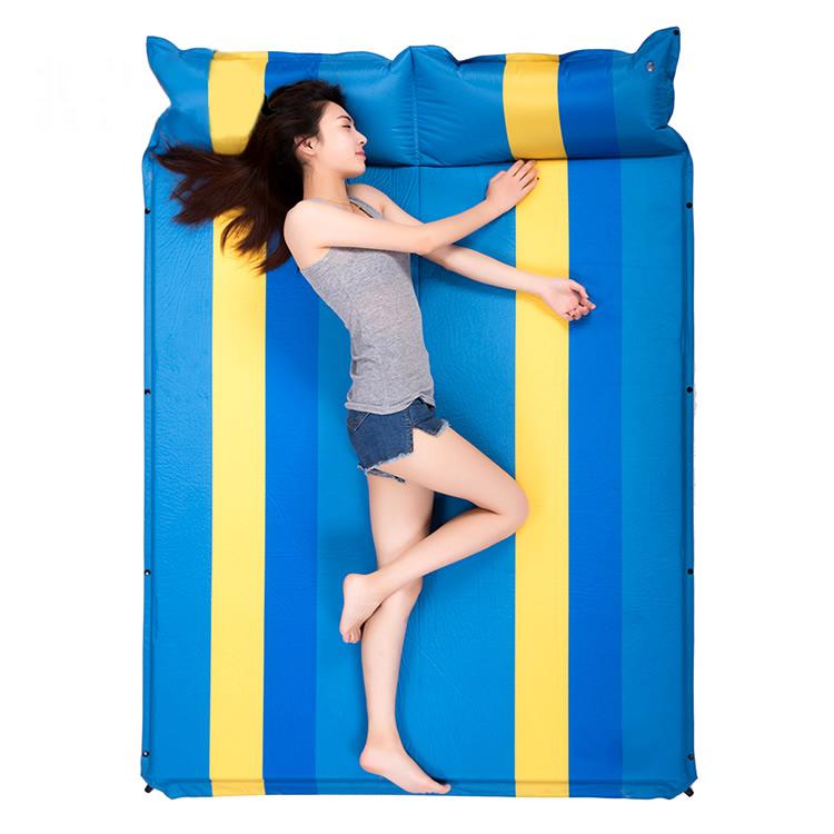 雙人可拼接情侶款帶枕自動充氣床墊SB001戶外防潮墊充氣地墊露營登山必備