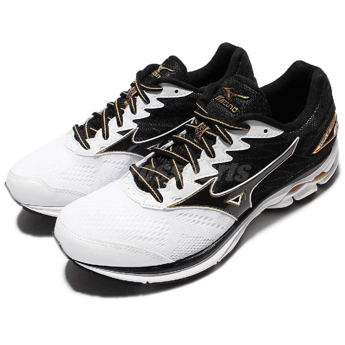 美津濃Mizuno Wave Rider 20 2E Wide寬楦頭慢跑鞋黑白金男鞋PUMP306 J1GC170414