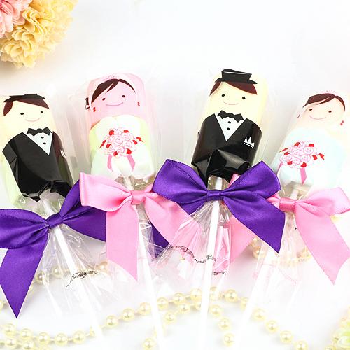 幸福婚禮小物❤甜蜜新郎新娘棉花糖(串)---1組10入❤ 喜糖/迎賓禮/二次進場/送客禮/棉花糖