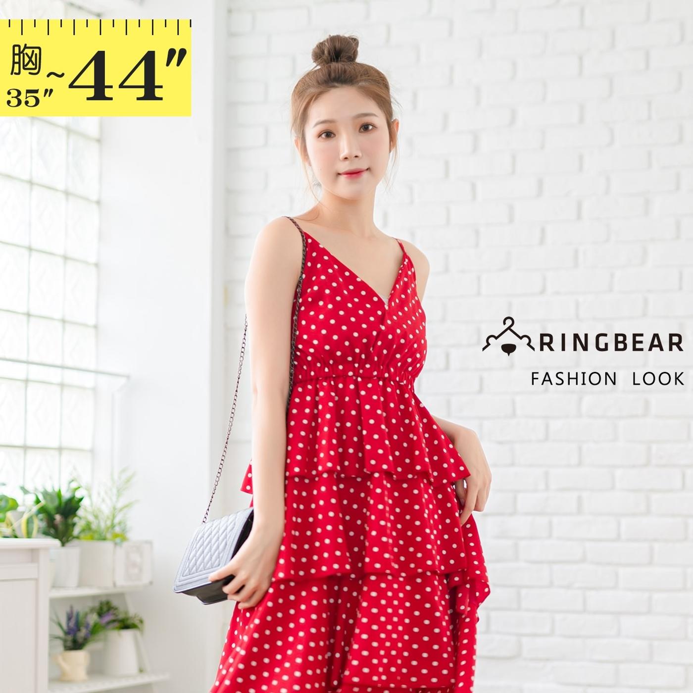 洋裝--性感渡假風顯瘦V領雪紡吊帶露背點點多層次蛋糕連身裙(黑.紅L-3L)-D534眼圈熊中大尺碼