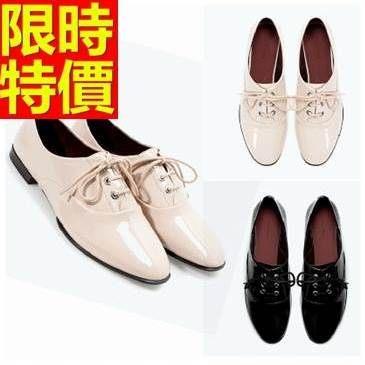 女牛津鞋-漆皮哈雷風非凡綁帶平跟女皮鞋2色65y58巴黎精品
