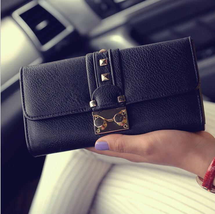 零錢包 女士 錢夾 2017 新款 女包 長款 鉚釘 錢包 歐美 時尚 鎖扣 手拿包