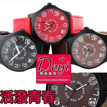 中性錶 時尚 青春活潑 手錶 卡通皮帶錶 潮流可愛石英表