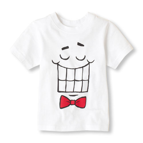 Place短袖上衣   笑臉圖案白色短袖T恤 4T (Final sale)