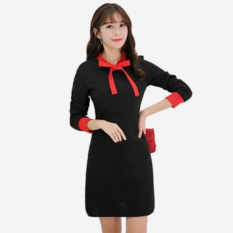 宴會 典雅紅蝴蝶結針織長袖撞色洋裝 (M8SF) 11752030
