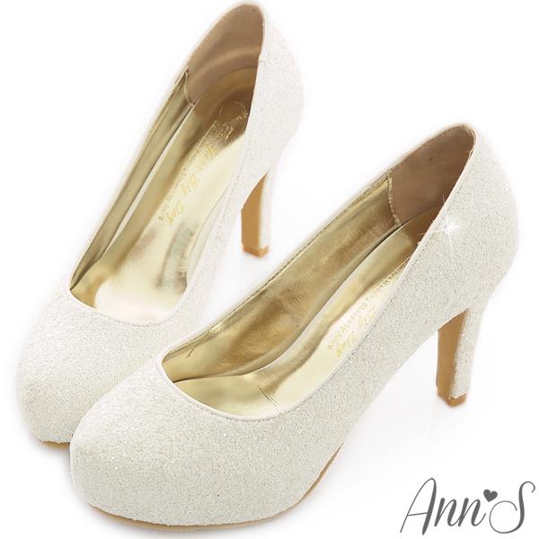 Ann S Bridal幸福婚鞋閃耀單鑽厚底跟鞋-白