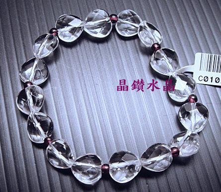 天然白水晶&紅石榴手鍊~心心相印~鑽石切面3A級-情人節禮物