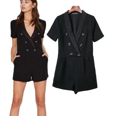 連身短褲-純色V領鬆緊腰棉質短袖女連身褲73ht63時尚巴黎