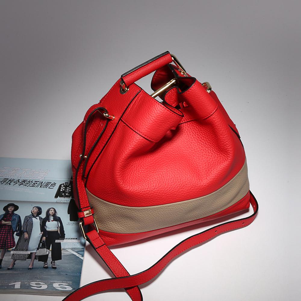 【O-ni O-ni】真皮新款韓版牛皮手提包女士條紋色水桶單肩包JZL-9087-紅色
