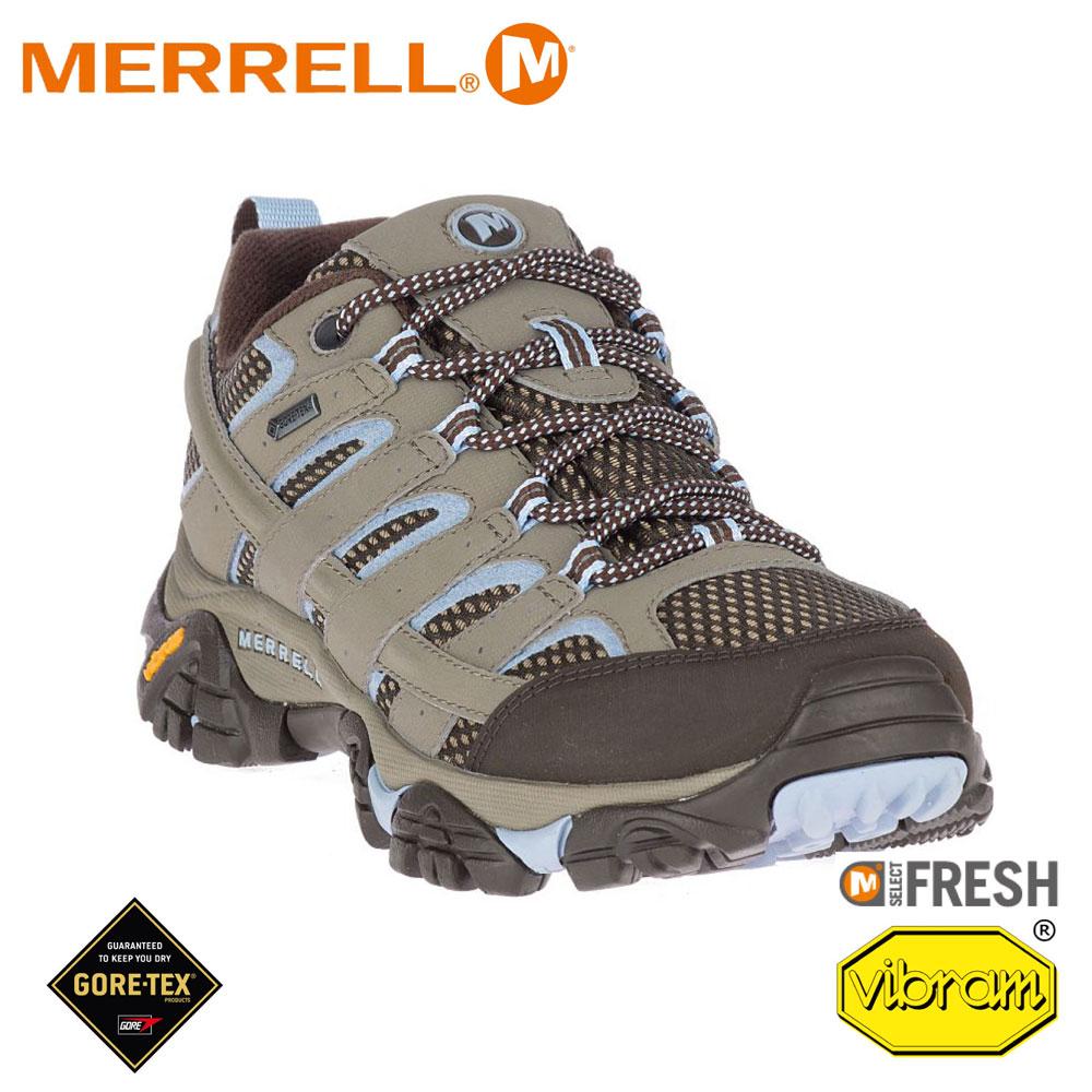 【MERRELL 美國 女 MOAB 2 GORE-TEX多功能健行鞋《棕灰/淺藍》】ML99788/休閒鞋/登山鞋
