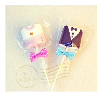 幸福朵朵新郎&新娘手作巧克力棉花糖x50支婚禮小物二次進場擺桌創意喜糖婚禮派對