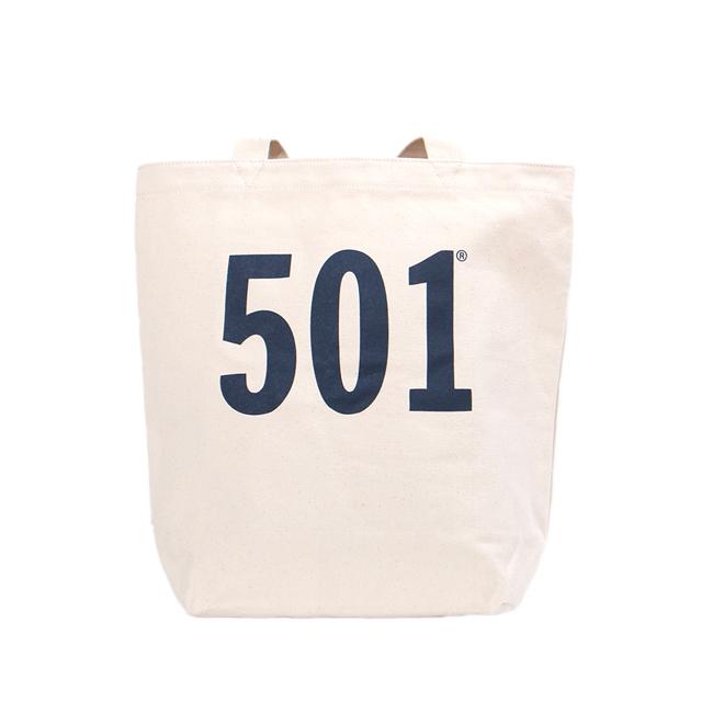 Levis 經典501印花自然白素面托特包