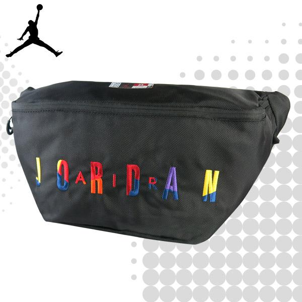 JORDAN 喬丹 腰包 運動 休閒 飛人 側背包 斜背包 大腰包  斜挎包 大包 黑色 9A0255 得意時袋