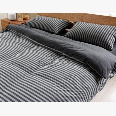 天竺棉四件套純棉簡約條紋床單被套針織棉全棉床笠床上用品炭灰中條