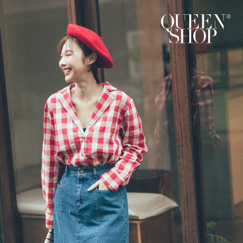 Queen Shop【01120217】配色格紋V領長袖棉麻上衣 兩色售*現+預*