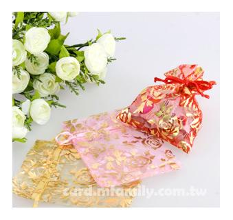 幸福朵朵*【燙金玫瑰紗袋】喜糖袋/禮物包裝/送客喜糖包裝/多色/喜氣