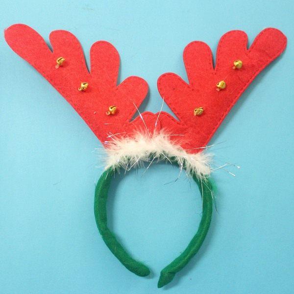 聖誕鹿角髮夾頭飾可愛麋鹿角聖誕頭圈白羽毛鈴鐺聖誕鹿角髮箍一個入定50