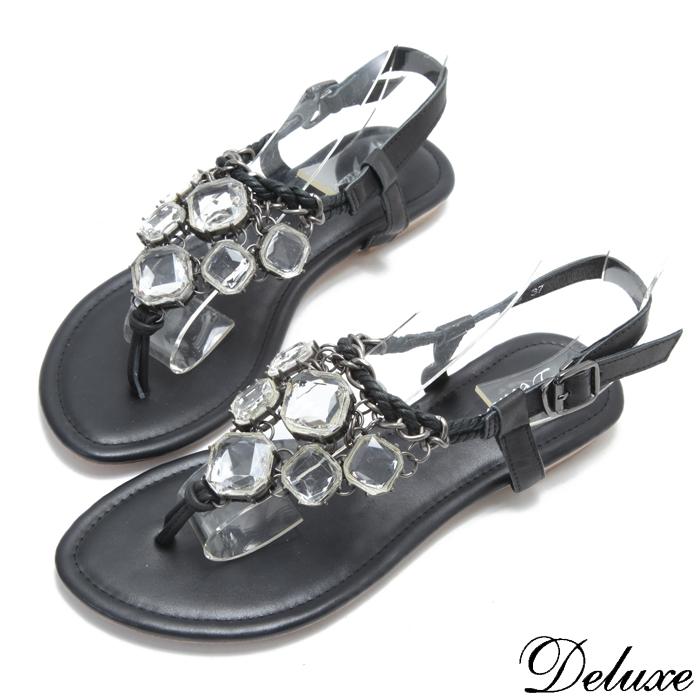 Deluxe氣質浪漫寶石夾腳羅馬涼鞋黑