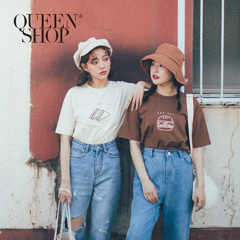 Queen Shop【01038029】早餐圖樣圓領棉T 兩色售*現+預*