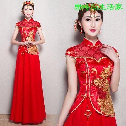 2017新娘敬酒服旗袍红色復古短袖中式旗袍禮服