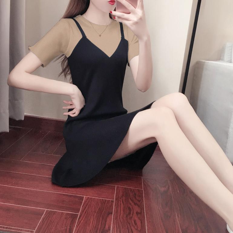 針織寬鬆休閒假兩件短袖魚尾下擺長版上衣短洋裝 ( 黑白  黑咖 )