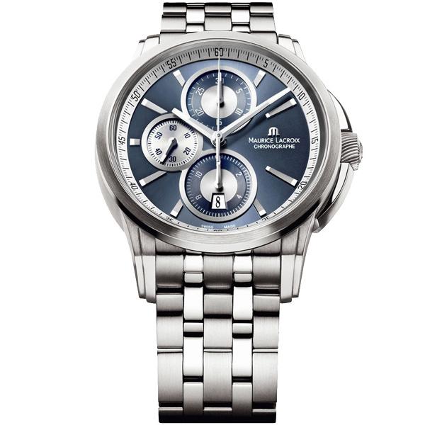 【僾瑪精品】Maurice Lacroix 艾美錶 商務三眼 菁英計時機械腕錶-藍/43mm/PT6188-SS002-430