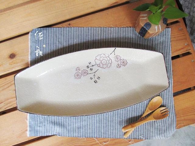 佐和陶瓷餐具~82GA013-14 14吋日式長方盤白梅餐廳擺盤宴客刺身長盤