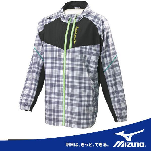 MIZUNO 美津濃 風衣套裝上.保溫風衣外套(黑白格) 2013新款(S/M/2XL)。58WS-32501